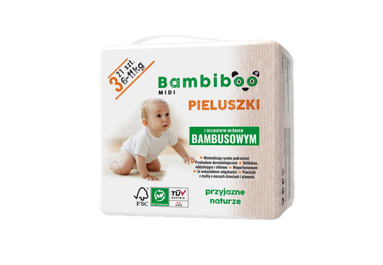Jednorazowe pieluszki marki Bambiboo z włóknem bambusowym w rozmiarze 3 - Midi dla niemowląt o wadze od 6 do 11 kilogramów