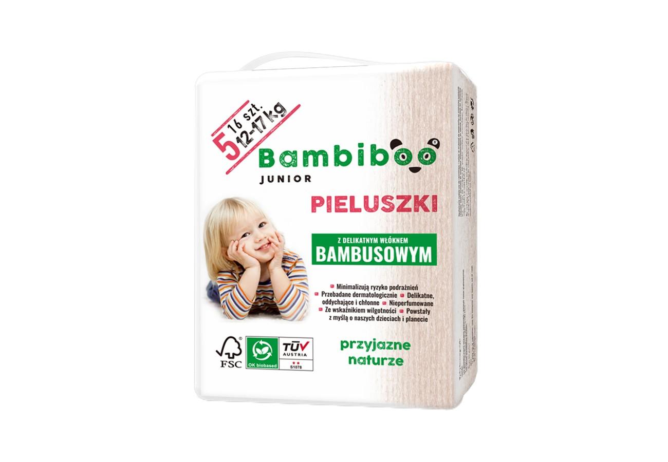 Jednorazowe pieluszki marki Bambiboo z włóknem bambusowym w rozmiarze 5 - Junior dla dzieci o wadze od 12 do 17 kilogramów