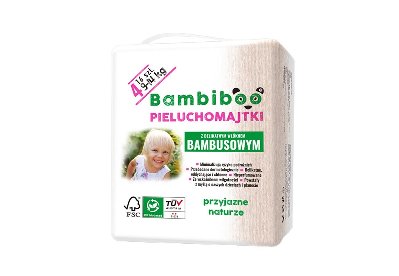 Jednorazowe pieluchomajtki marki Bambiboo z włóknem bambusowym w rozmiarze 4 - dla dzieci o wadze od 9 do 14 kilogramów