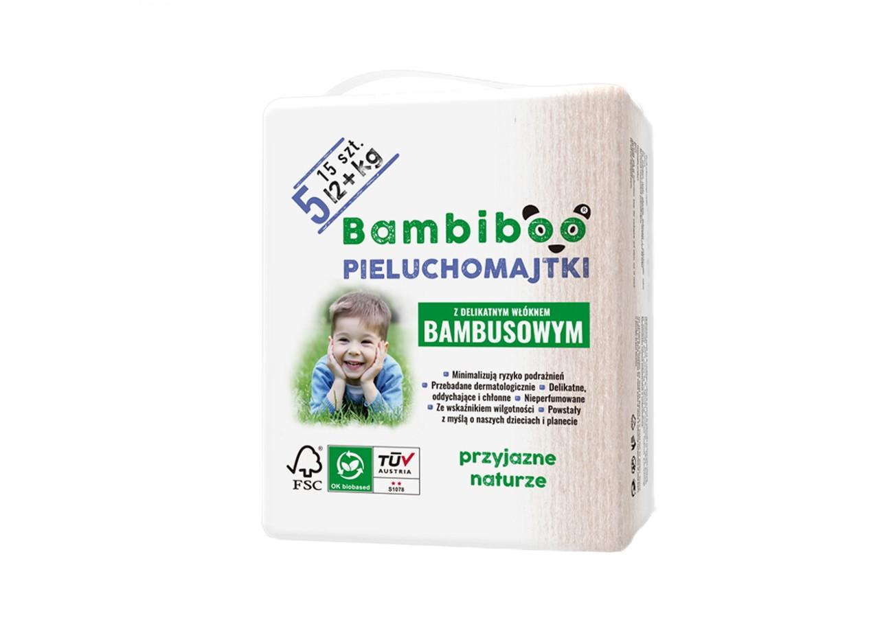 Jednorazowe pieluchomajtki marki Bambiboo z włóknem bambusowym w rozmiarze 5 - dla dzieci o wadze 12 kilogramów i więcej