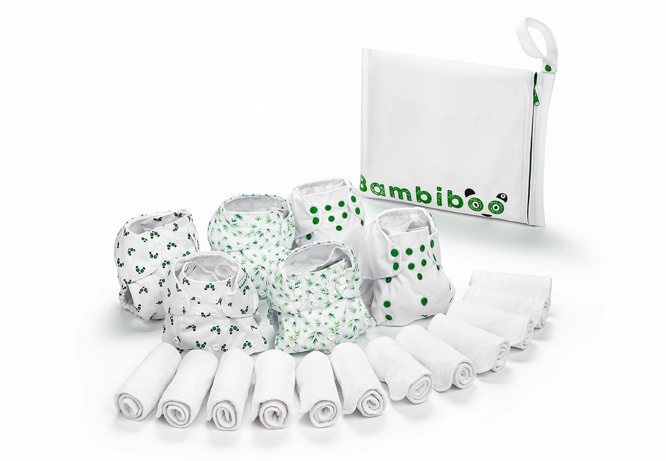 Zestaw 6 pieluszek wielorazowych Bambiboo z 12 wkładami z mikrofibry oraz wet bag