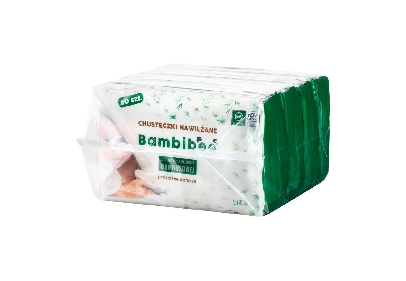 Bambiboo chusteczki nawilżane bambusowe  4 x 60 szt.